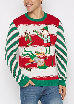 Sloshed Elves Ugly Christmas Sweater
