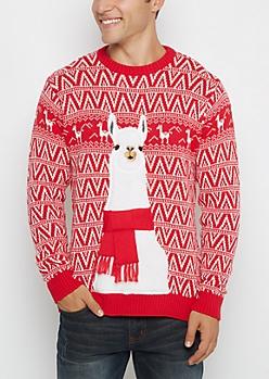 Llama Scarf Ugly Christmas Sweater