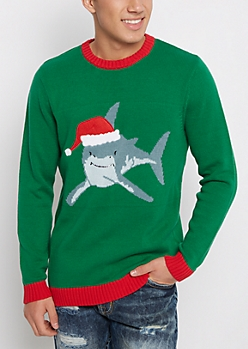 Great White Shark Santa Christmas Sweater
