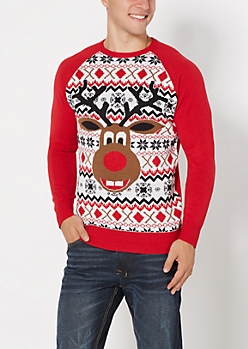 Dopey Reindeer Ugly Christmas Sweater