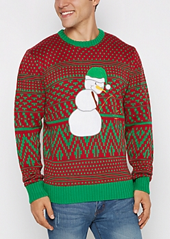 Peeing Snowman Ugly Christmas Sweater