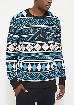 Carolina Panthers Argyle Holiday Sweater