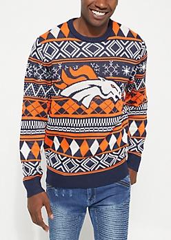 Denver Broncos Argyle Holiday Sweater