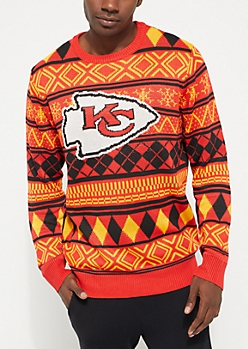 Kansas City Chiefs Argyle Holiday Sweater