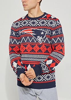 New England Patriots Argyle Holiday Sweater