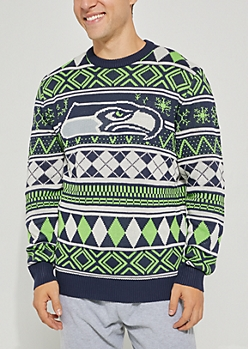 Seattle Seahawks Argyle Holiday Sweater