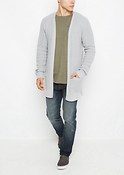 Gray Rib Knit Open Front Cardigan