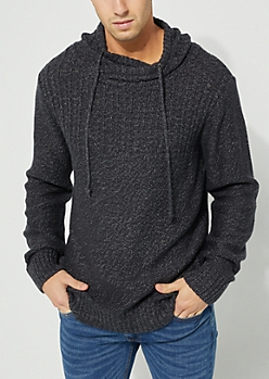 Charcoal Wrap Neck Knit Hoodie