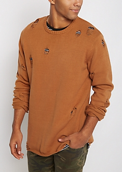 Camel Distressed Sweater