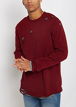 Burgundy Distressed Sweater