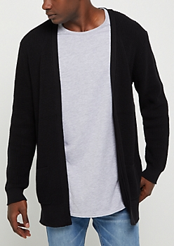 Black Long Length Waffle Knit Cardigan