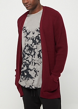 Burgundy Long Length Waffle Knit Cardigan