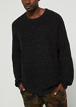 Black Speckled Rib Knit Sweater