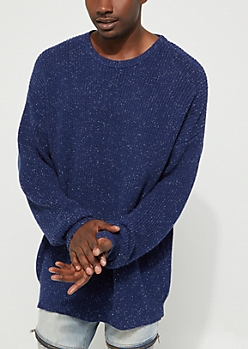 Navy Speckled Rib Knit Sweater