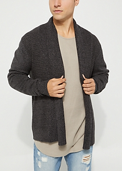 Charcoal Gray Open Front Cardigan
