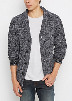 Black Marled Rolled Collar Cardigan