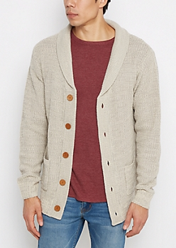 Tan Marled Rolled Collar Cardigan