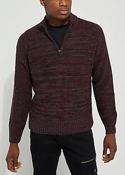 Burgundy Mock Neck Zip Sweater