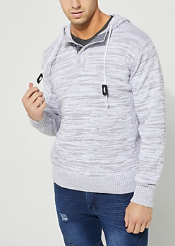 Gray Hooded Button Up Neck Sweater