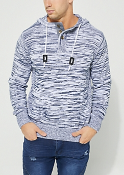 Navy Hooded Button Up Neck Sweater