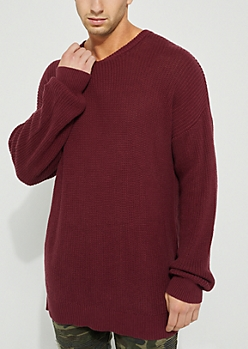 Burgundy Drop Shoulder Sweater