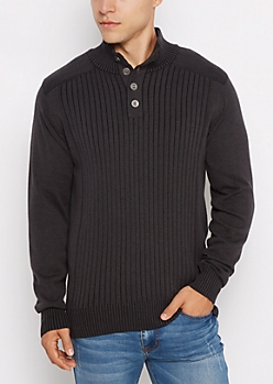 Black Ribbed Henley Sweater