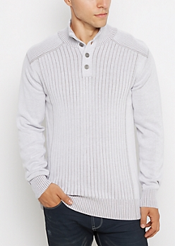 Gray Ribbed Henley Sweater