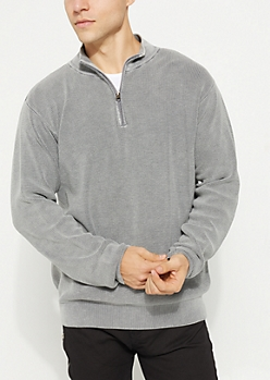 Gray Waffle Knit Quarter Zip Sweater