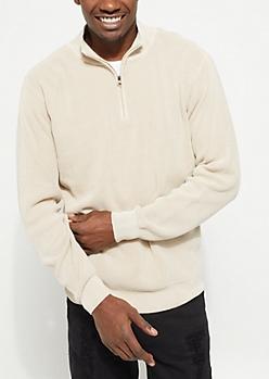 Stone Waffle Knit Quarter Zip Sweater