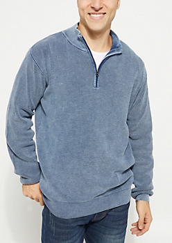 Navy Waffle Knit Quarter Zip Sweater