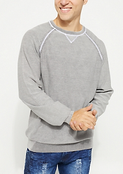 Gray Stitched Crewneck Sweater