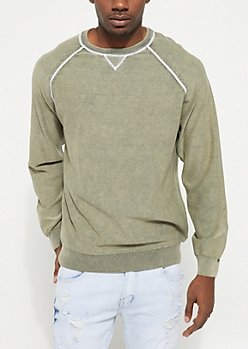 Olive Stitched Crewneck Sweater
