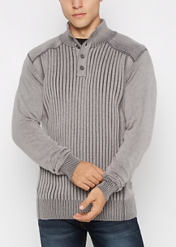 Gray Ribbed Button Mock Neck Sweater