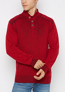 Red Ribbed Button Mock Neck Sweater