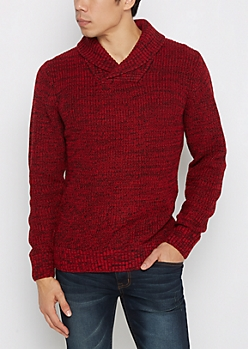 Red Marled Shawl Collar Sweater