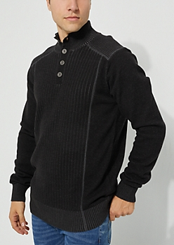 Black Rib Knit Solid Sweater
