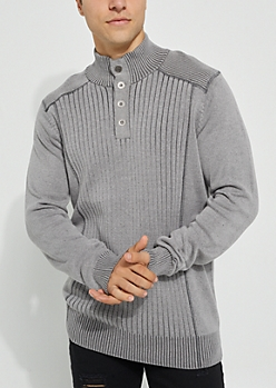 Gray Rib Knit Solid Sweater