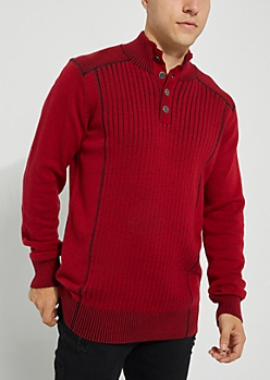 Red Rib Knit Solid Sweater