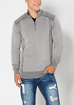 Gray Knit Half-Zip Sweater