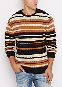 Brown Striped Knit Sweater
