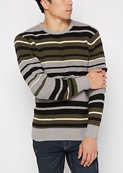Olive Striped Knit Sweater