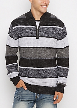 Black Paneled Stripe Mock Neck Sweater