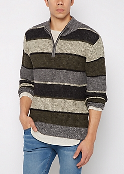 Olive Paneled Stripe Mock Neck Sweater