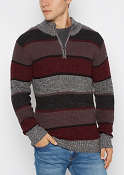 Striped Knit Quarter-Zip Sweater