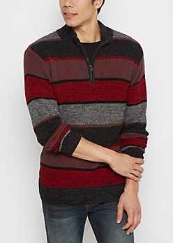 Red Block Striped Zip Mock Neck Sweater