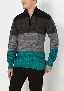 Teal Space-Dyed Mock Neck Sweater