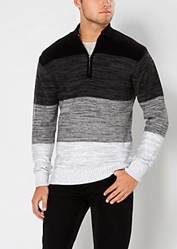 White Color Split Half-Zip Sweater
