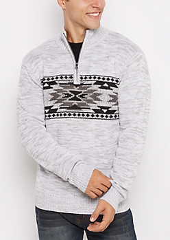 Gray Aztec Quarter-Zip Sweater