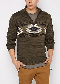 Olive Aztec Quarter-Zip Sweater