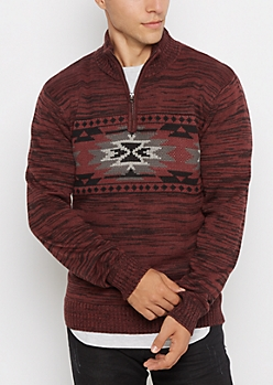 Burgundy Aztec Quarter-Zip Sweater